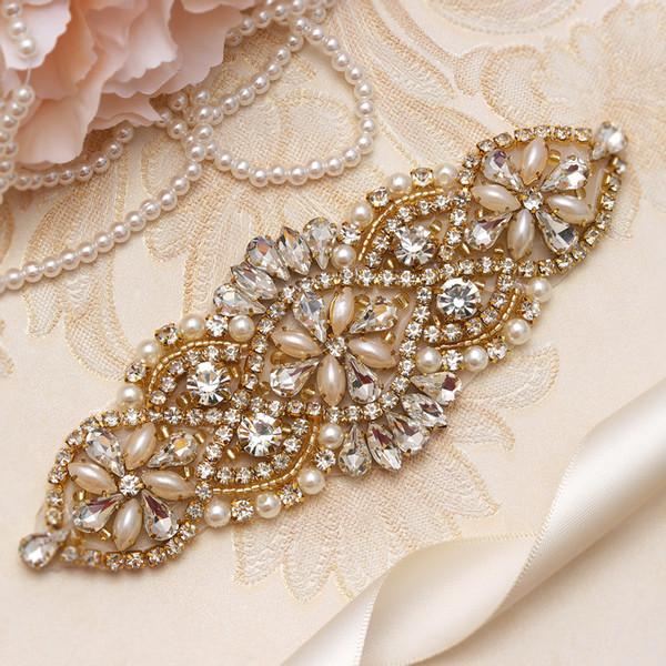 MissRDress Bridal Dress Sash Belt Gold Crystal Rhinestones Pearls Wedding Belt And Sash For Women Dresses YS848