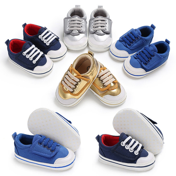 Spring and Autumn 0-1 years old boys and girls gold and silver PU, blue canvas baby casual soft shoes non-slip baby toddler shoes
