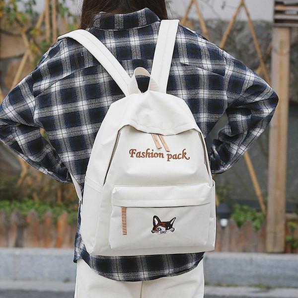 Mode Frauen Leinwand Rucksäcke Korean Ulzzang Druck Katze Und Brief Frauen Kawaii Schultaschen Für Jugendliche Mädchen Mochila