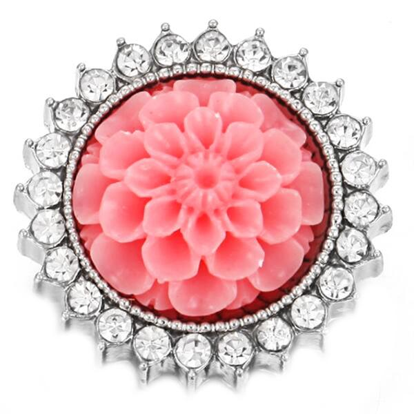 Wholesale Snap Jewelry 18mm Snap Buttons Mixed Flower Rhinestone Metal Flower Snaps Buttons for Snap Bracelet Bangle