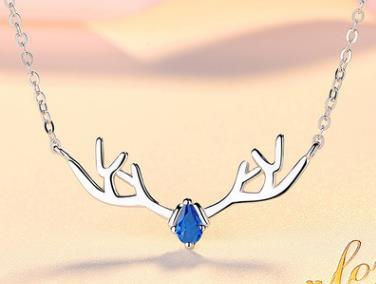 S925 sterling silver necklace female a deer have you necklace elk Christmas ornaments Valentine's clavicle chain