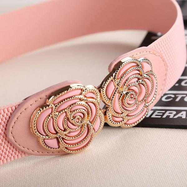 Elegant Elastic Belts for Woman 3.5*80CM Lady Flowers Belt Pant Accessories 2018 Korean Style Beaded Buckle Wide Belt