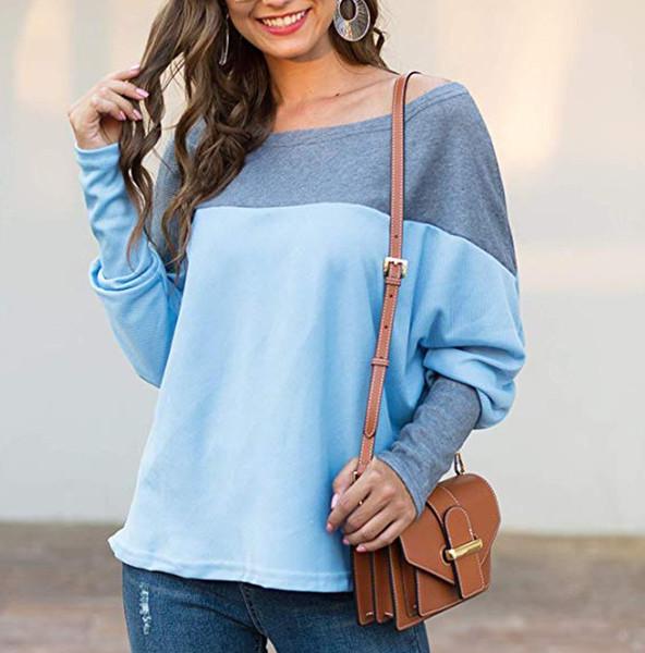 Femmes Printemps Automne manches longues Sweats à capuche Sweat-shirt Patchwork pull avec capuche Sweat Hoodies Tops Taille Plus S-2XL # J31