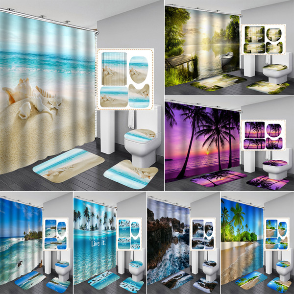 New colorida da praia Fabric Shower Curtain Banho Cortina Mar Conch Starfish Shell Boat Rug Define Toilet Tampa Mat Set Decor Bath