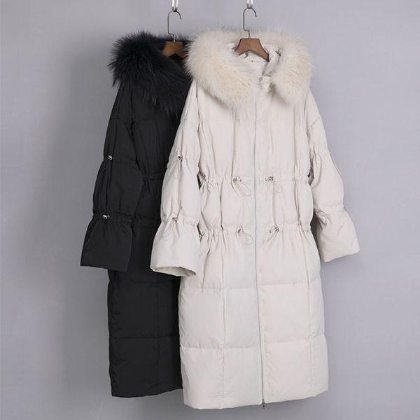 Mode Echt Pelzkragen Mantel 2019 Winter Frauen Jacke Verdicken Mit Kapuze 90% Weiße Ente Jacke Plus Plus Parka Feder Mantel SS69
