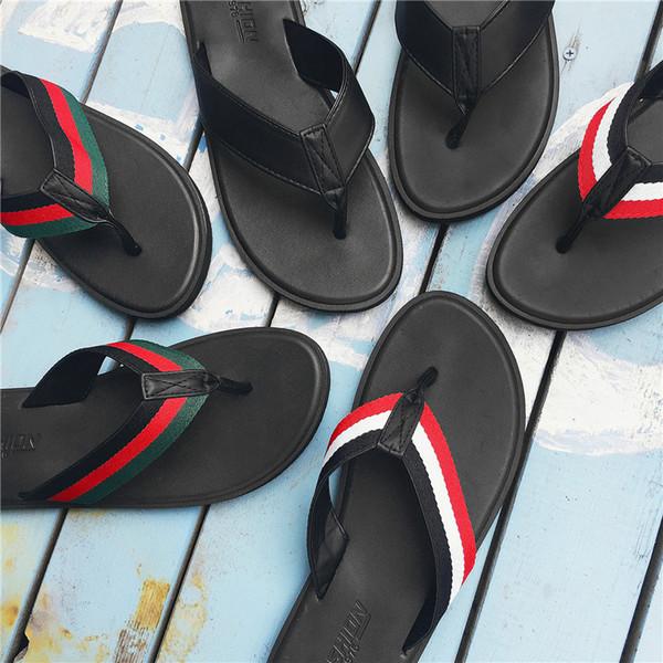 Zapatillas de rayas para hombre Playa de verano Chanclas de corcho Chanclas Sandalias Raya Zapatillas antideslizantes Diapositivas casuales Zapatos 3 colores GGA1987