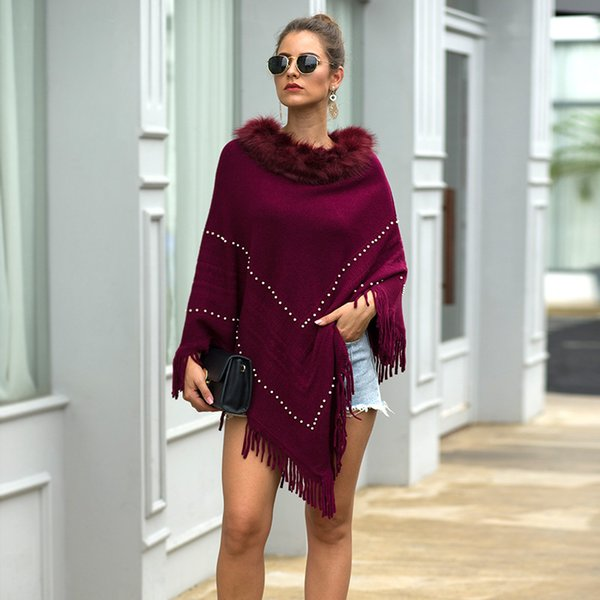 winter women's sweater knitted pullover sweaters fringed cloak cape fur collar beaded round neck solid color sweater women