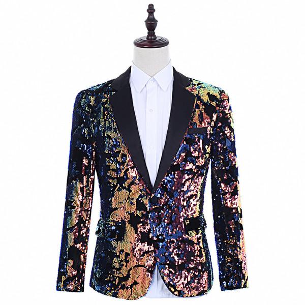Design unique pour hommes Couleur Sequin Style Punk grande taille Blazer Parti Homme Vêtements Mode Homme Discothèque Danse vestons