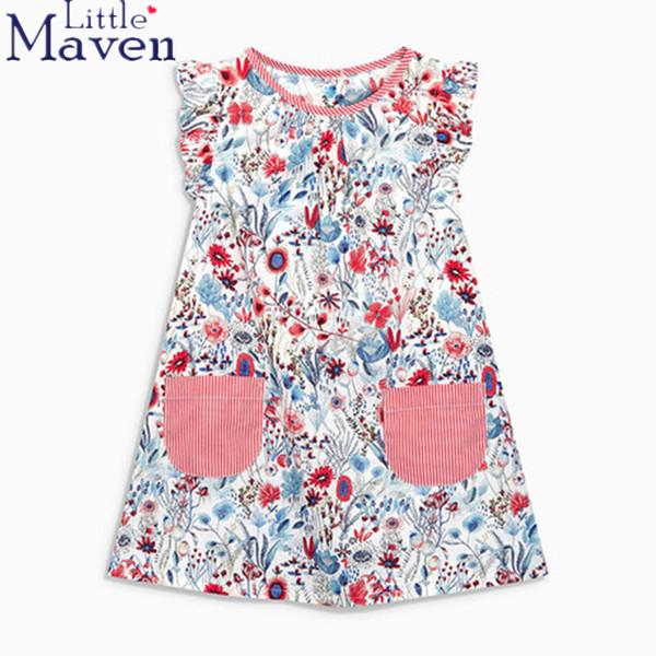 100% Little Maven Children Brand 2018 Estate New Baby Girls Puro cotone stampa Fiore Tasca vacanza ragazze Beach Dress Abiti Y190515