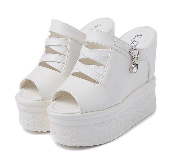 Plataforma elegante negro blanco sandalias de cuña moda mujer de lujo zapatos del diseñador tamaño 34 a 39