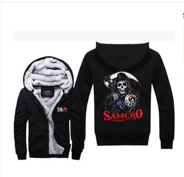 2019 hiver sweat à capuche Sons of Anarchy samcro SOA californie Hommes femmes Épaissir Hoodies vêtements pulls molletonnés Zipper veste polaire hoodie streetwear