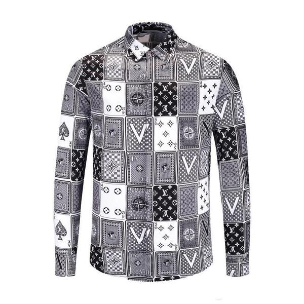 2019 Brand New Тонкий мужчин рубашки ретро цвета 3D цветочные печати моды случайные платье мужчин рубашки мужские рубашки Medusa