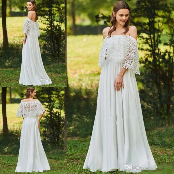 2018 A Line Beach Wedding Dresses Backless With Lace Cape Chiffon Plus Size Custom Made Stylish Country Bridal Gowns