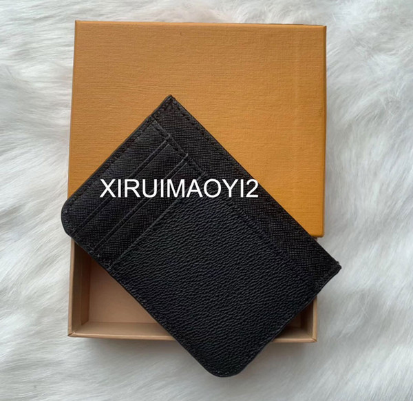 top popular Mens Classic Casual Credit Card ID Holder Hiqh Quality Leather Ultra Slim Wallet Packet Bag For Mans Womans Keychain 2021