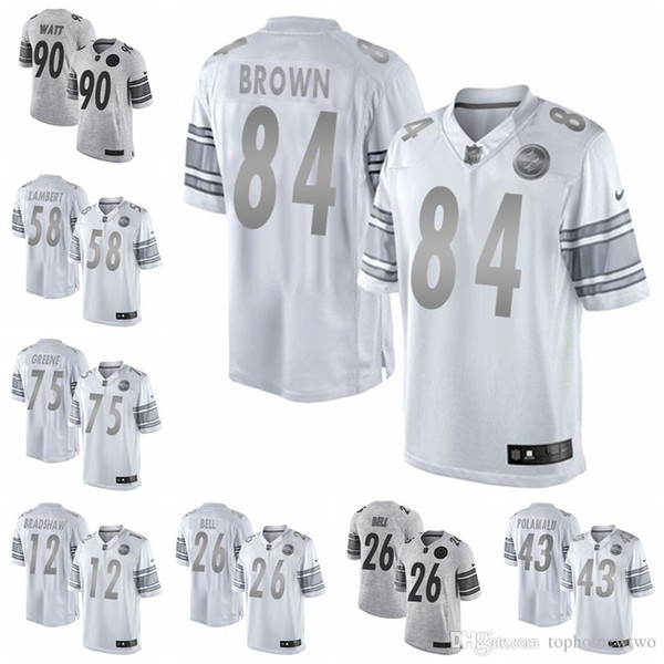 sale retailer 04a72 e5704 2019 Pittsburgh Gray Gridiron White Platinum Steelers 26 Bell Jersey 84  Antonio Brown 90 T.J. Watt Limited Game Football Jersey From Jerseyptb21,  ...