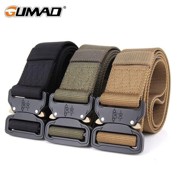Men Belt Sport Waistband Adjustable Military Police Tactical Combat Metal Buckle