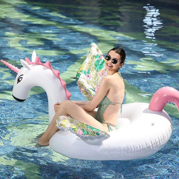 Gigante inflável unicórnio piscina float ride-on pegasus anel de natação para adultos crianças brinquedos da festa de água de ar colchão boia