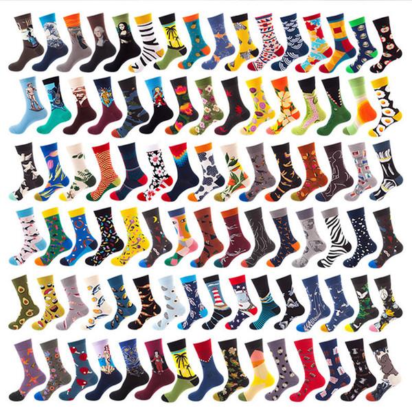 animales hombre de mediana calcetines de las mujeres unisex de la impresión floral colorido deporte al aire libre de la pintura al óleo impresa algodón Calcetines 92styles LJJA3270-13