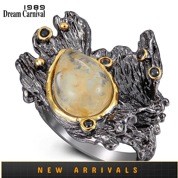 dreamcarnival1989 amazing women rings rough stone wedding engagement ring strong character water melon zircon gun color wa11787