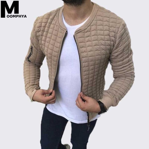 Moomphya 2019 New Zipper cardigan plaid jacket men Streetwear hip hop men jacket chaqueta hombre long sleeve coat outwear