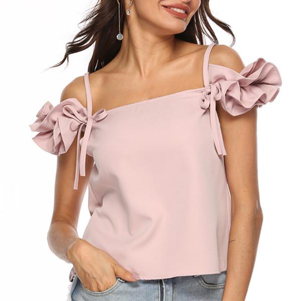Женские топы и рубашки 2019 года женская сексуальная рубашка с коротким рукавом женская короткая шифоновая рубашка белая розовая красная майка женская