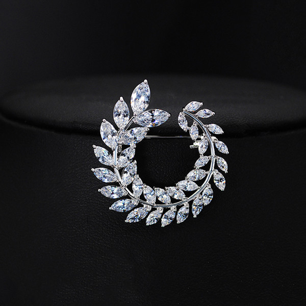 Top Quality CZ Leaf Olive Branch Brooch For Women Fashion Dinner Gorgeous Banquet Bride Dress Silver Jewelry