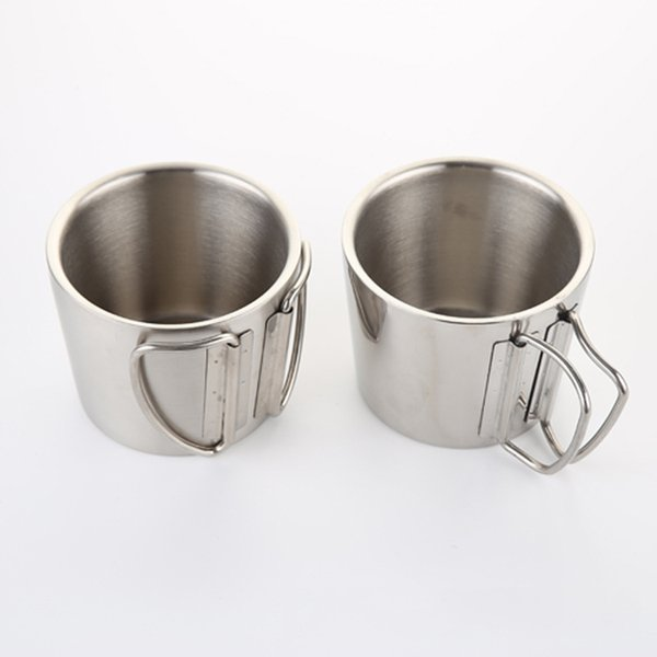 350ML 12oz Stainless Steel Tumblers Double Wall Layer Coffee Mug With Collapsible Handle Wine Glasses Beer Water Cup Customizable DBC VF1498
