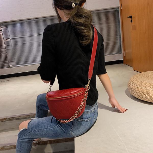 Paquete de cuero Cofre Cintura Riñonera Riñonera Acolchada Bandolera Bandolera Mujer Mujer Bolso Cadena