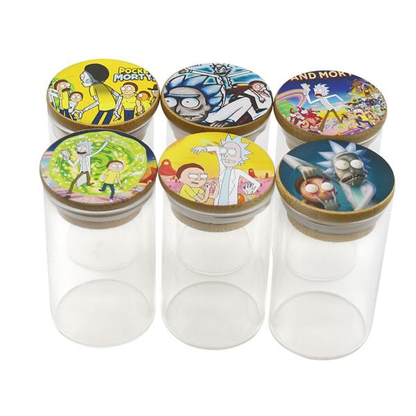 Newest Glass Jar Tobacco Reserve Storage Bottle 6 Style Cartoon Pattern Wax Jar Bottom Container 67*87mm
