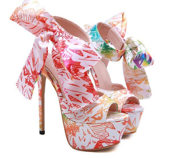 15cm elegant bowtie floral printed ultra high heels luxury women designer shoes sandals size 35 to 40