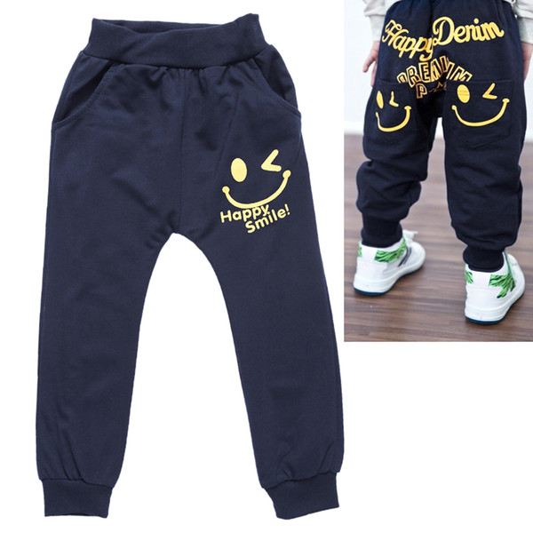 Kids Children Boys Pants True Smile Face Print Elastic Pants Boys Spring Summer Casual Trousers Bottoms Trousers For 3-7Y