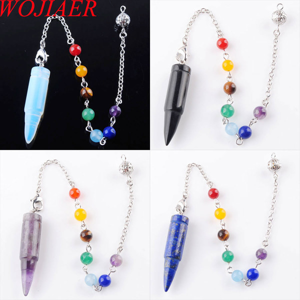 WOJIAER Fashion Natural Stone Silvery Metal Ball Chain Dowsing Healing Chakra Pendulum With Chain 1PCS DBN359