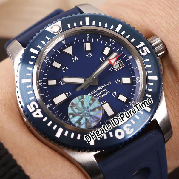 New Superocean Y1739316/C959/158S/A20SS.1 44mm Special Edition Series Steeel Case Blue Dial Miyota Automatic Mens Watch Blue Rubber E02b2
