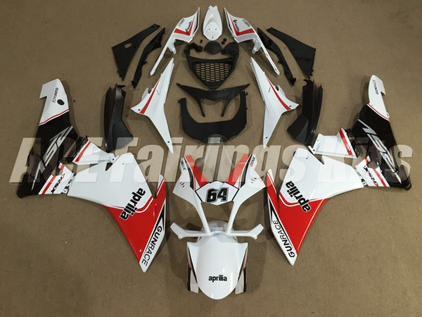 Neue ABS-Motorrad-Verkleidungssets für Spritzgussformen passen für Aprilia RSV4-1000 2009-2014 RSV4 09 10 11 12 13 14 Karosserie Verkleidung benutzerdefinierte rot weiß 64