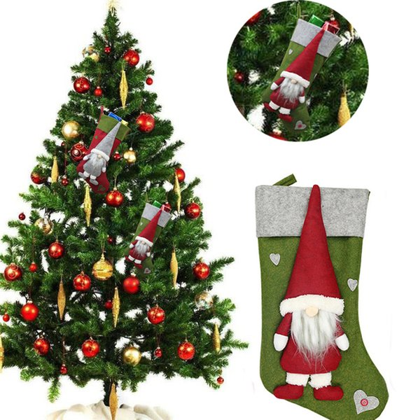 Free DHL Christmas Tree Santa Pendant Stocking No Face Dolls Socks Gift Bags 19.3 Inch New Styles