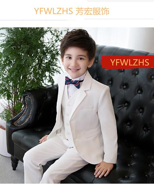 Красивый две кнопки Notch отворотом ребенок полный дизайнер Красивый мальчик свадебный костюм мальчиков наряд на заказ (куртка+брюки+галстук+жилет) A29