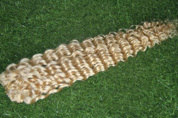 # 24 Blond Clair Couleur Péruvienne Vierge Bundles de Cheveux 100% Extensions de Cheveux Humains 1 Pièce Deep Wave Hair Weave