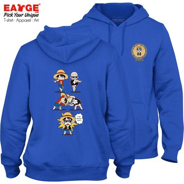 One Piece Crossover Fleece Hoodies Creative Style Skate Cool Novelty Punk Women Men Blue Double Sided Sweatshirts