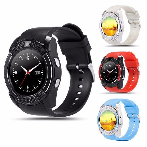 Smart watch v8 homens esporte bluetooth relógios mulheres senhoras rel gio smartwatch com slot para cartão sim câmera android phone pk dz09 y1 a1