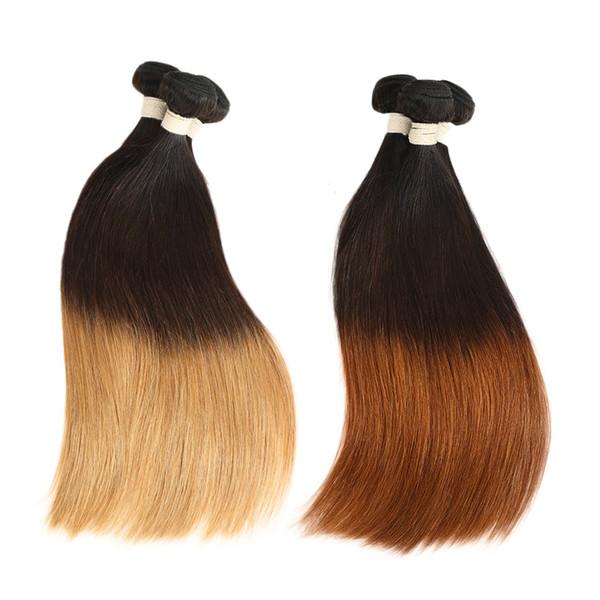 3 Tone Indian Ombre Glattes Haar 3/4 Bundles Tissage Cheveux Humain Blonde Ombre Remy Glattes Menschenhaar Bundles