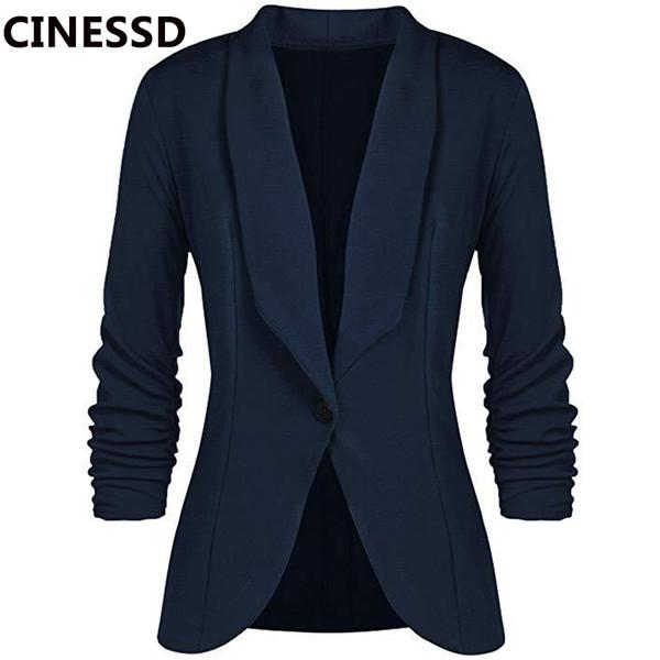 CINESSD Büro-Dame-Blazer-Mantel-Fest mit langen Ärmeln Strickjacke Knopf-beiläufige Klage-Marine-Blau-drapierte dünne Baumwoll Frauen Blazer