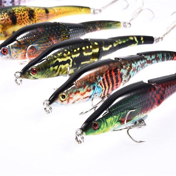 3 Sections Crankbait Hard Artificial Bait Jerkbait Painting Fishing Lure NEUE