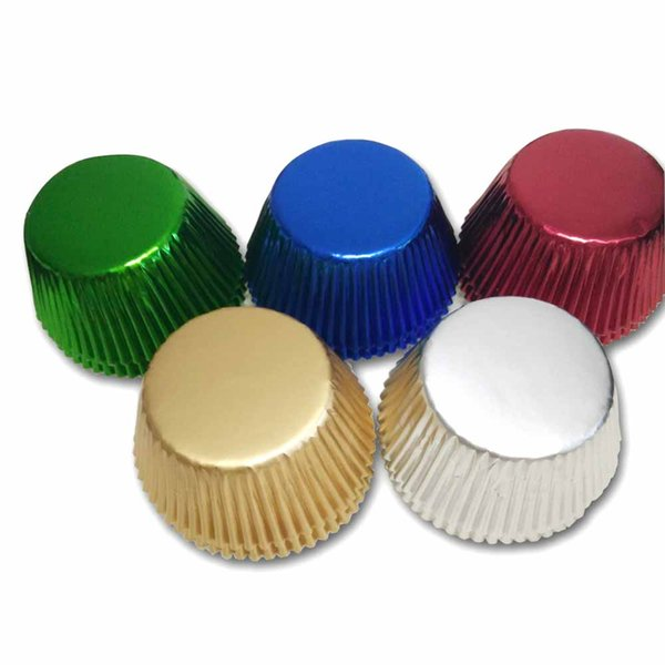 50pcs Gold/Silver/Red/Blue/Black/Rose Foil Paper Cupcake Liners Pure Color Baking Muffin Cup Cake Wrappers Case Cake Mould
