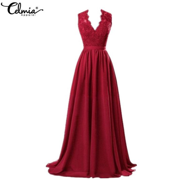Celmia Women 2019 Sexy Deep V Neck Sleeveless Lace Summer Maxi Long Dress Casual Elegant Party Formal Dress Plus Size Vestidos J190614