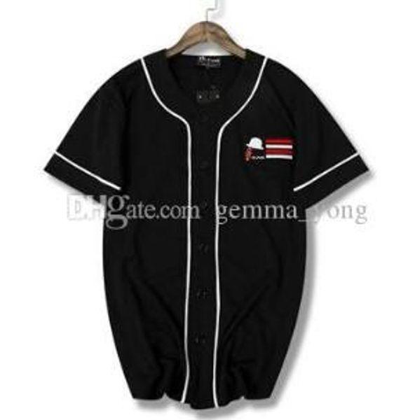 NWT Yeni Hip hop siyah ve beyaz çizgi çabuk kuruyan tişört beyzbol üniforma kısa kollu forma iyi