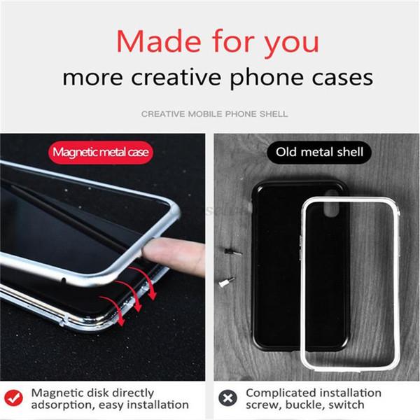 Cas de téléphone de luxe Magnétique Adsorption Flip pour iphone x cas Trempé Verre Couverture Arrière En Métal Pare-chocs pour Goophone cas de téléphone