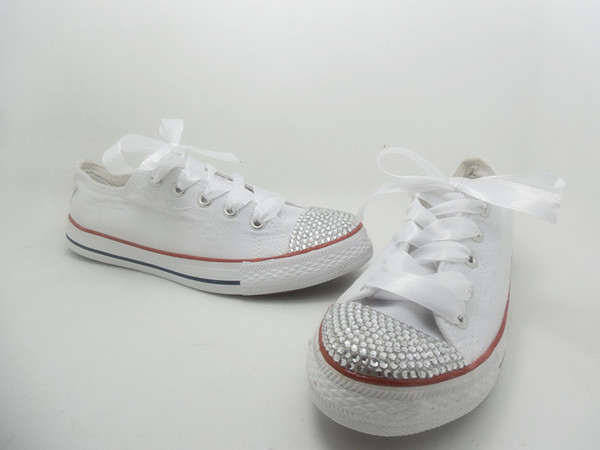 Hot new 2016 men and women star shoes, unisex classic white canvas shoes, fashion brand DIY creative sticky diamond shoes all 35-41 n049