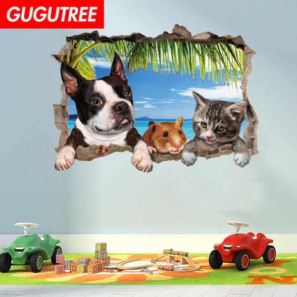 Decorate home 3D dogs cats cartoon art wall sticker decoration Decals mural painting Removable Decor Wallpaper G-957