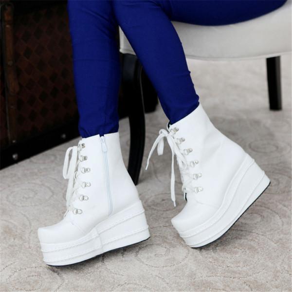 Lapolaka 2019 INS HOT Tamaño grande 31-49 Plataforma Tacones de cuña Botines Zapatos de mujer Zapatos casuales frescos Mujeres Cosplay Bota Mujer