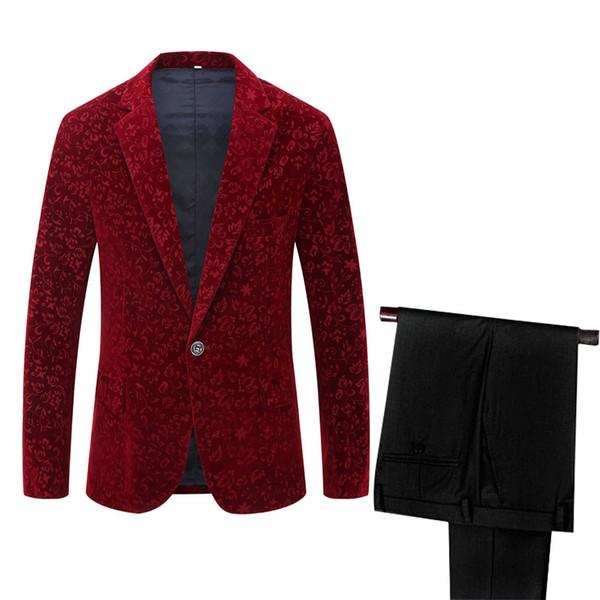 floral burgundy suit
